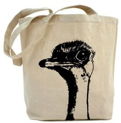 Eco friendly .. Ostrich tote bag - Canvas tote bag. $19.99, via Etsy.