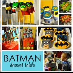 Batman Party  I am liking the Batman cake pops!