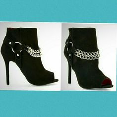 """STUNNING Charles Jourdan stiletto booties BNWOT Cary chain peeptoe black suede ankle boots. Worn around the house for a few hours. Silver draping chain with side ring. Zipper on the opposite side. Micro suede cushioned insoles, leather exterior and man made insoles. 5"""" shaft height, 9 1/2"""" opening circumference, 4 1/2"""" heel height. Very minimal wear! Absolutely gorgeous!!! These are a size 6 1/2 but I'm a 7 1/2 and they fit perfectly! Charles Jourdan Shoes Ankle Boots & Booties"""