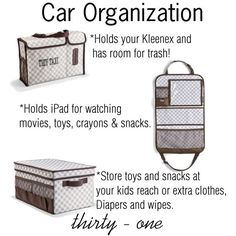 Great car orgainzation with thirty one!    Www.mythirtyone.com/michelleTaylor