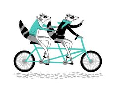I was completely jazzed when Alyssa Nassner of Small Talk Studio let me know about her super cute new Raccoon Screen Print. The limited edition screen print features two lovey dovey raccoons out for a refreshing tandem bicycle ride, and. Raccoon Illustration, Bike Illustration, Animal Illustrations, Raccoon Art, Pick Art, Tandem Bicycle, Cycling Art, Alphonse Mucha, Electronic Art