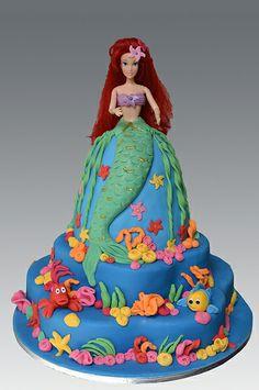 Ariel Doll Cake by Gellyscakes, via Flickr