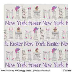 New York City NYC Happy Easter Landmarks Fabric