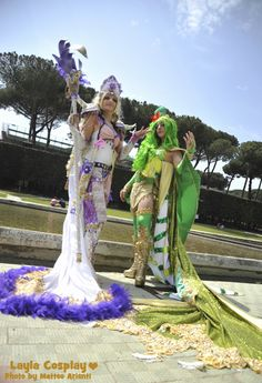 Videogame: Final Fantasy VI. Characters: Rosa Farrell & Rydia. Cosplayers: Tatiana Motta & --. Event: Euro Cosplay 2011. Photo: Matteo Arienti.