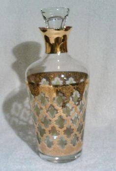 Culver Valencia MCM Glass Decanter Green Gold Diamonds with Stopper Barware SOLD