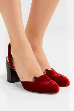 Charlotte Olympia - Kitty Embroidered Patent Leather-trimmed Velvet Pumps - IT40.5