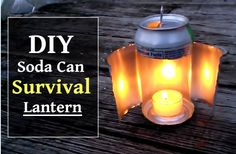 DIY Soda Can Survival Lantern - easy to make in less than 5 minutes using a soda or beer can... #shtf #survival #preparedness #camping