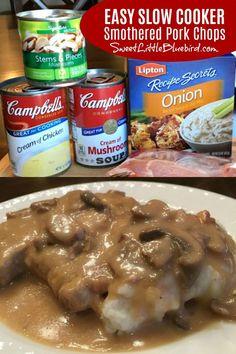 Smothered Pork Chops Recipe, Pork Chops And Gravy, Easy Crockpot Pork Chops, Meals With Pork Chops, Pork Chop Meals, Pork Gravy Recipe, Today's Recipe, Mushroom Pork Chops, Mushroom And Onions