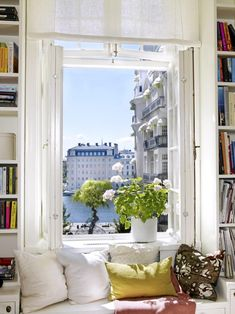 À Paris. Amazing view from these french door windows & the window seat! French windows in the middle that open up? Home Interior, Interior And Exterior, Window View, Window Seats, Window Nooks, Window Benches, Open Window, Window Panels, Paris Apartments