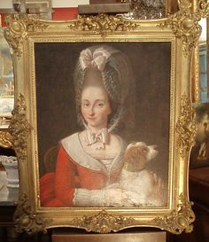 #Oil on #canvas, #portrait of a young woman with a dog. #18thcentury. For sale on #Proantic by Galerie du Peyrou.