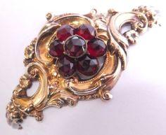 Antique Victorian 14k Solid Gold Repousse Bohemian Garnet Flower Bracelet   eBay