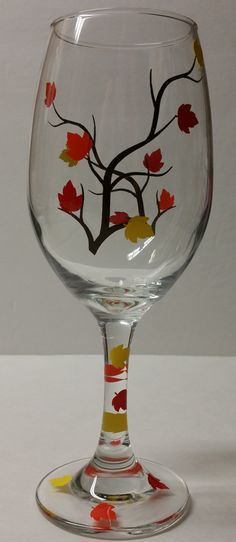 Fall Autumn Leaves Wine Glasses | Fall Colors | Birthday Gift