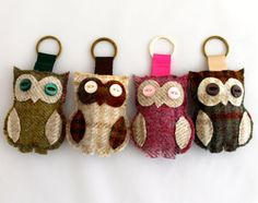 Hey, I found this really awesome Etsy listing at https://www.etsy.com/listing/225560452/keyring-tweed-owl-hand-sewn-in-pink