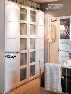 "Ikea ""Pax"" wardrobe with ""Bergsbo"" doors Bedroom Hacks, Ikea Bedroom, Bedroom Inspo, Bedroom Decor, Pax Wardrobe, Bedroom Wardrobe, Ikea Closet, Laundry Room Storage, Master Bedroom Design"