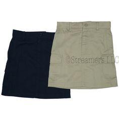 School Uniforms for Girls Sizes 4-6X, Girls School Uniform Skirt with Adjustable Waist, Zip and Button Front Closure, Velcro Cargo Pockets, ...