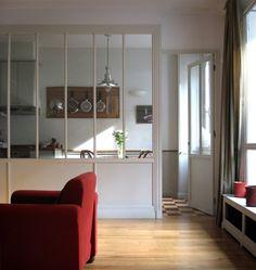 Meubles et boiseries - verrière intérieur entre une cuisine et un salon