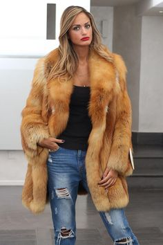 casual red fox fur jacket