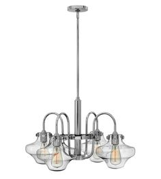 Hinkley 3041CM Congress 4 Light 27 inch Chrome Chandelier Ceiling Light, Retro Glass #LightingNewYork