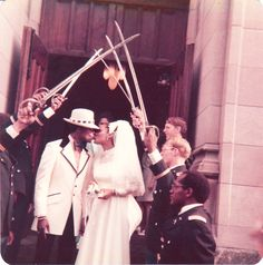 West Point Wedding - Just got married!!! My classmates, on their first day as U.S. Army 2nd Lieutenants, formed a saber arch under which my new bride and I stole a kiss for posterity.