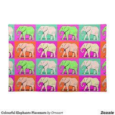 Colourful Elephants Placemats