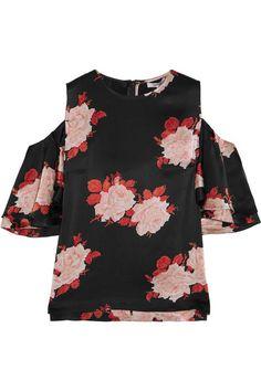 GANNI - Cold-shoulder Floral-print Satin Top - Black - DK34