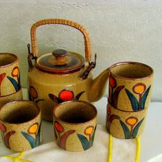Japanese Tea Set Mid Century Flowers #etsy #tea #ceramic #vintage