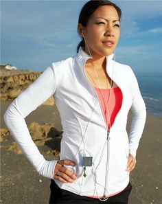 JoFit Thumbs Up Fitness Jacket in White at #Golf4Her.com
