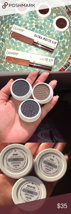 🎊 ColourPop Five Piece Set! Sexy, Smokey & Nude! There's nothing sexier than smoky eyes and a nude lip..... it's SUCH a trendy and classic look!  Three Super Shock Shadows: ✨Knight (tiny crack in the shadow, super common for CP shadows, doesn't effect the integrity of the shadow) Cool black, satin finish. LE ✨90210, Warm Brown with a sparkle finish. LE ✨Roller Girl, Warm Black with a sparkle finish (the most UNREAL sparkle!!). LE Two Ultra Matte Lips: 👄 Monday, warm peachy beige 👄Teeny…