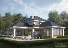 House with attic in modern style with usable area House with a large garage. Minimum size of a plot needed for building a house is m. Bungalow Haus Design, Modern Bungalow House, Modern House Design, Dream House Exterior, Dream House Plans, Style At Home, House Front, My House, Home Stairs Design