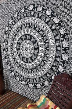 MANDALA Elephant Wall Tapestries Boho Beach by IndianHomeTextile Mandala Tapestries Mandala Elephant, Elephant Tapestry, Dorm Tapestry, Bohemian Tapestry, Mandala Tapestry, Blanket On Wall, Wall Blankets, Tree Of Life Tapestry, Mandala Curtains