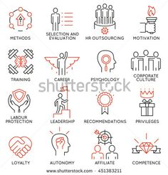 Vector set of 16 linear thin icons related to striving for success, leadership…