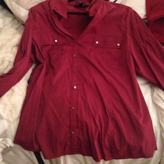 Maroon/purple Blouse Worn once! Super breathable with all silver buttons. Make me an offer! Style & Co Tops Blouses