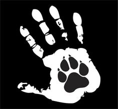 Hand and Dog Paw Tattoo Design - Hand print and dog paw print inside it. Boy Tattoos, Trendy Tattoos, Animal Tattoos, Animal Lover Tattoo, Dog Paws, Pet Dogs, Animal Rescue, Vinyl Decals, Tatting
