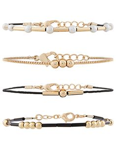Simply stylish, our pearl friendship bracelet pack features four designs with cords, black, gold and pearl beads and a gold-tone metal chain. They fasten wit. Baby Jewelry, Beaded Jewelry, Handmade Jewelry, Stylish Jewelry, Simple Jewelry, Layered Jewelry, Cord Bracelets, Metal Chain, Pearl Beads