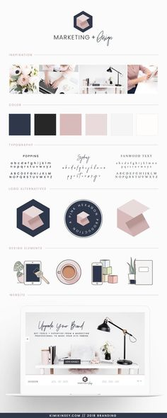 Kimi Kinsey Marketing and Design Brand Board 2018 - Inspiration, Color Palette, Typography choices, branding and design elements for the Kimi Kinsey rebrand. The thought process and decisions behind one professional designer's business re-brand + examples Logo Design, Identity Design, Typography Design, App Design, Layout Design, Brand Design, Vector Design, Brand Identity, Brochure Design