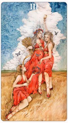- Three of Cups - by Losenko.deviantart.com on @deviantART | Three of Cups: Harvest Festival, Friendship, Optimism.