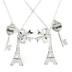 Claire's Accessories Girls Project BFF Best Friends Glitter Eiffel Tower, Bow and Key Pendant Necklaces Claire's http://www.amazon.com/dp/B00OKQOIZI/ref=cm_sw_r_pi_dp_IxOEub0GS04SF