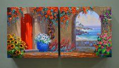 Original Oil Paintings by Mikki Senkarik. Please come into my studio and watch me paint. Multiple Canvas Paintings, Small Canvas Art, Diy Canvas Art, Tuscan Art, Beach Scene Painting, Acrilic Paintings, Cute Paintings, Mexican Art, Mural Art