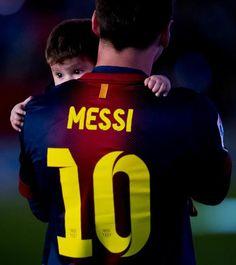 Messi & his son Thiago celebrating La Liga Championship 2013!