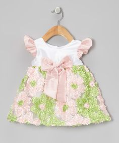 Take a look at this Peach & Green Angel-Sleeve Bow Dress - Infant by Haute Baby on #zulily today!