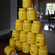 Spray painted (empty) baby food jars to make LEGO heads to use as take home gifts from a party. Saved this to my iPhone before I had pinterest; don't know where it's from.