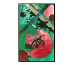 Collage Original Abstract Art Red Green Modern Painting