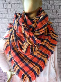 Orange Tartan Plaid blanket scarf / Oversized by bosphorusscarf