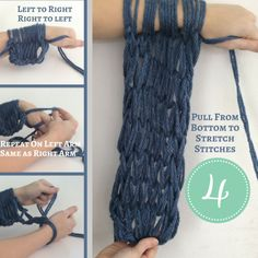 Learn how to Arm Knit a Scarf Quick and Easy Knitting