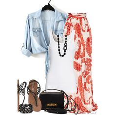 """""""Long Skirt"""" by mclaires + the whole outfit = summer summer summer!"""