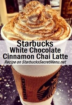 Starbucks White Chocolate Cinnamon Chai Latte The White Chocolate Cinnamon Chai Latte is rich and indulgent and goes excellently with a cinnamon swirl! Bebidas Do Starbucks, Secret Starbucks Drinks, Starbucks Secret Menu Drinks, Starbucks Coffee, Starbucks Chai Tea Latte Recipe, Coffee Coffee, Starbucks Secret Frappuccino, Chi Tea Latte Recipe, Coffee Beans