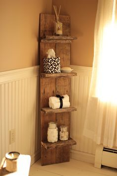 """I made a small pallet shelf to fit in a small bathroom, just so there would be some extra storage.  I was lucky to find a pallet with long and wide planks, and I used those for the back.  Then I ripped down a piece of a pallet that had 3/4"""" wood on it, and made some cleats for some extra support on the shelves.  Then screwed into the shelves from the back with 2.5"""" screws, as well as screwing into the top of the shelves into the cleats to make sure the shelves are not going anywhere."""