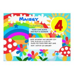 Rainbow birthday party invitation