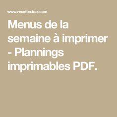 Menus de la semaine à imprimer - Plannings imprimables PDF.