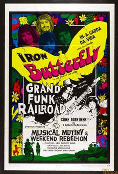 Musical Mutiny Movie Poster 1970 Iron Butterfly Grand Funk Railroad 27 x 41 1 sheet Rock Posters, Band Posters, Movie Posters, Hippie Posters, Psychedelic Posters, Psychedelic Music, Vintage Concert Posters, Vintage Posters, Vintage Music